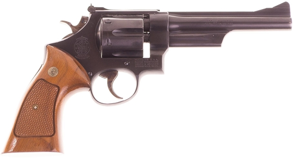 """Picture of Used Smith & Wesson 28-2 """"Highway Patrolman"""" Double-Action .357 Mag, 6"""" Barrel, Blued, 6 Shot, Wood Grips, Minor Holster Wear At Muzzle, Good Condition"""