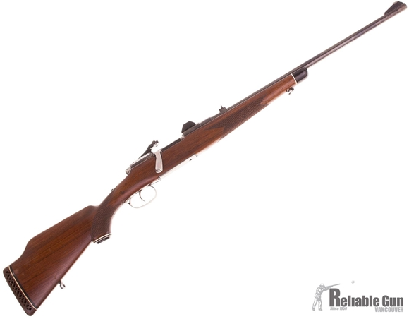 Picture of Used Steyr Mannlicher Model MC Bolt Action Rifle, 30-06 Sprg, 22'' Barrel w/Sights, Walnut Half Stock, Redfield Scope Bases, Good Condition
