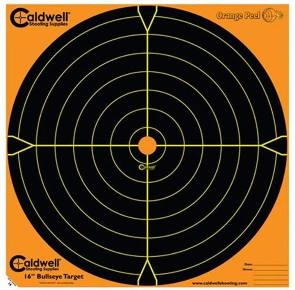 """Picture of Caldwell Shooting Supplies Paper Targets - Orange Peel Bullseye Targets, 16"""", Orange, Adhesive-Backed, Featuring Dual-Color Flake-Off Technology, 5 Sheet Pack"""