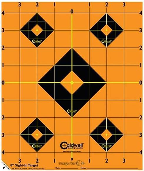 "Picture of Caldwell Shooting Supplies Paper Targets - Orange Peel Sight-In Targets, 8"", Adhesive-Backed, Featuring Dual-Color Flake-Off Technology, 5 Sheet Pack"