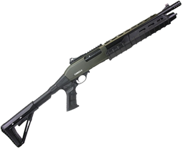 "Picture of Canuck Commander Pump Action Shotgun - 12ga, 3"", 14"", Green Receiver, Black Synthetic Adjustable Pistol Grip Stock, Fiber Optic Front Sight, Optic Rail, Heat Sheild, Mobil Choke Flush (C,M,F) + Breacher Choke"