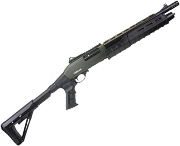 "Picture of Canuck Commander Pump Action Shotgun - 12ga, 3"", 14"", Green Receiver, Black Synthetic Adjustable Pistol Grip Stock, Fiber Optic Front Sight, Optic Rail, Heat Sheild, Mobil Choke Flush (C,M,F) + Breacher Choke"
