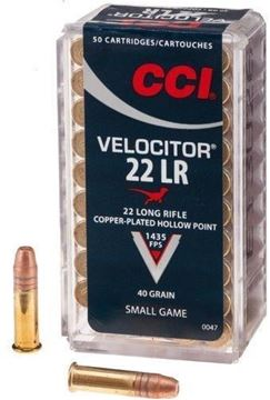 Picture of CCI Small Game Rimfire Ammo - Velocitor, 22 LR, 40Gr, Copper-Plated HP, 500rds Brick, 1435fps