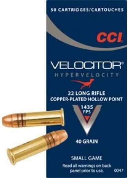 Picture of CCI Small Game Rimfire Ammo - Velocitor, 22 LR, 40Gr, Copper-Plated HP, 5000rds Case, 1435fps