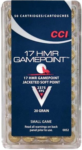 Picture of CCI Small Game Rimfire Ammo - Gamepoint, 17 HMR, 20Gr, JSP, 50rds Box, 2375fps