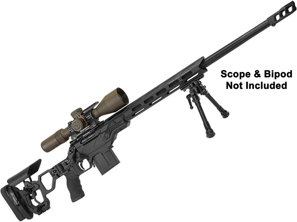 """Picture of Cadex Defense CDX-R7 Lite Comp Rifle - 308 win, 24"""", 1-11.25"""" Twist, Black, DX2 Trigger, Oversized Cross Hatch Bolt Knob, 10rds, Skeleton Buttstock, 20 MOA Rail, With MX1 Brake"""