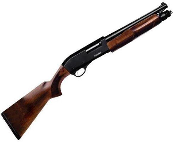 "Picture of Akkar Churchill Wood Pump Action Shotgun - 12Ga, 3"", 12"", Matte Black, Walnut Stock, 4rds, Rifle Front Sight, Fixed Cylinder"