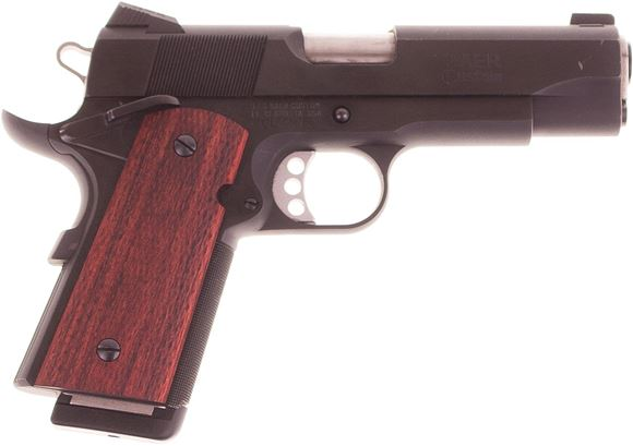 Picture of Used Les Baer Stinger, Officers Frame 1911, 45 ACP, 4.25'' Barrel, Blued Frame & Slide, Rosewood Grips, 1 Magazine, Scratch on Right Side of Slide, Otherwise Very Good Condition