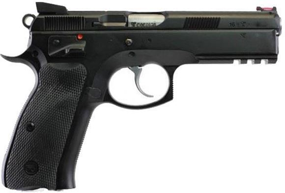 "Picture of CZ 75 SP-01 Shadow DA/SA Semi-Auto Pistol - 9mm, 4.61"", Hammer Forged, Black Polycoat, Rubber Grips, Fiber Optic Front & Fixed Rear Sights, 3x10rds, Ambi Safety"