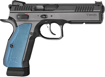 Picture of CZ Shadow 2 Black/Blue Semi Auto DA/SA Pistol - 9mm Luger, 120mm Barrel, Adjustable Sights, 3x10rds, Black w/ Blue Grips