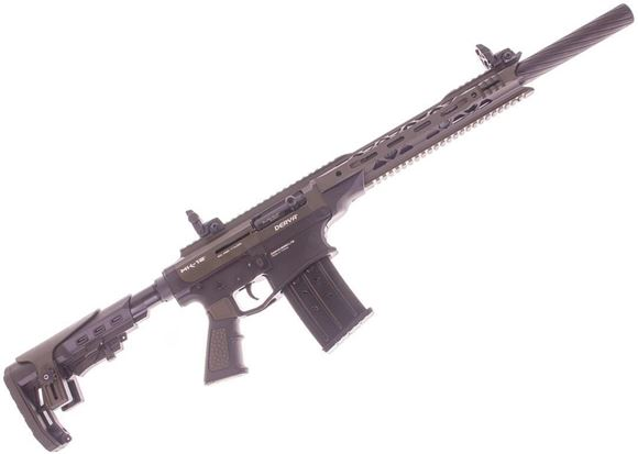 "Picture of Derya Arms MK-12 Model AS103S Vertical Magazine Semi-Auto Shotgun - 12Ga, 3"", 20"", Two Tone (OD Green Upper, Black Lower), Synthetic Stock, 1x2rds, 2x5rds, AR Flip Up Sights, Barrel Shroud, 3 Mobil Choke"
