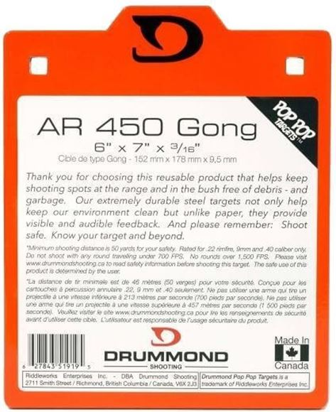 "Picture of Drummond Shooting Pop Pop Targets - AR 450 Gong, 6""x7""x3/16"", Neon Orange Powder Coat, w/Square Holes For Carriage Bolts, For Rimfire/9mm/40 S&W"