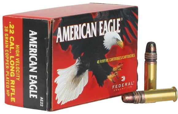 Picture of Federal American Eagle Rimfire Ammo - High Velocity, 22 LR, 38Gr, Copper-Plated HP, 4000rds Case