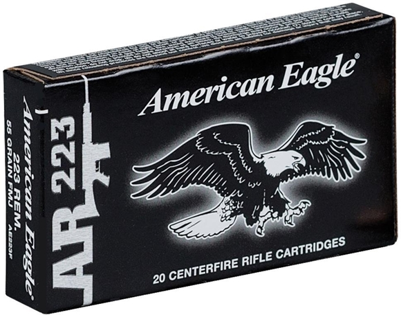 Picture of Federal American Eagle AR223 Rifle Ammo - 223 Rem, 55Gr, FMJ, 20rds Box