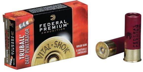 """Picture of Federal Premium Vital-Shok TruBall Deep Penetrator Rifled Slug Load Shotgun Ammo - 12Ga, 2-3/4"""", Max Dram, 1oz, Truball Rifled Slug, 50rds Brick, 1350fps"""