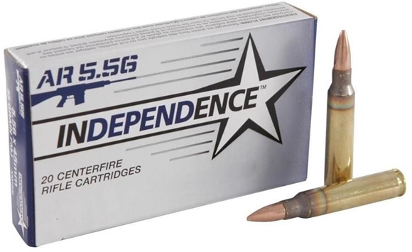 Picture of Federal Independence XM193I 5.56 NATO Rifle Ammunition, 55 gr. FMJ, 500 rd. Case