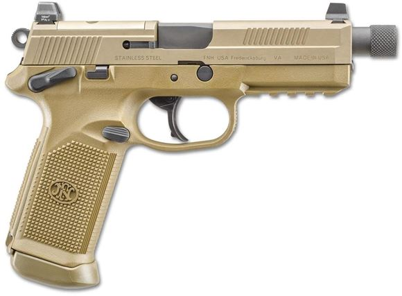 """Picture of FN Herstal (FNH) FNX-45 Tactical DA/SA Semi-Auto Pistol - 45 ACP, 5.3"""", w/.578x28 RH Thread & Thread Protector, Cold Hammer-Forged Stainless Steel, Flat Dark Earth Stainless Steel Slide, Flat Dark Earth Polymer Frame, 3x10rds, Fixed 3-Dot Night Sights, F"""