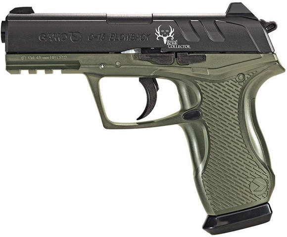 Picture of Gamo Semi Auto Blow Back CO2 Air Pistol - .177, 430fps, 1 Magazine, Compatable w/ Pellets and Metal BBs, OD Green Lower/ Black Slide
