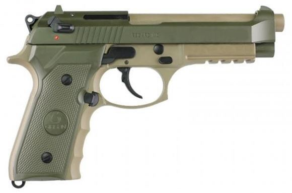 "Picture of Girsan Regard MC DA/SA Semi-Auto Pistol - 9mm, 5"", Two-Tone OD Green/Desert Sand, Ambidextrous Safety, Lanyard Hole, White Dot Sights, 2x10rds, w/Rail"