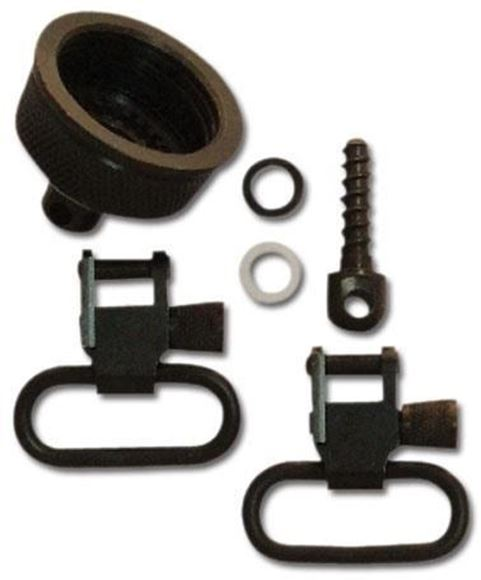 "Picture of GrovTec GT Magazine Cap Swivels Set - Magazine Cap & Swivel, For 870, 12Ga, 3/4"" Wood Screw Swivel Stud Rear & 1 Pair GT Locking Swivels, 1"" Loops, Black-Oxide Finish"