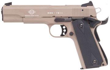 "Picture of German Sport Guns (GSG) 1911 Standard Rimfire Single Action Semi-Auto Pistol - 22 LR, 5"", Tan, Black Grips, 10rds"