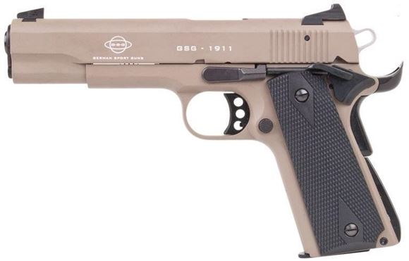 "Picture of German Sport Guns (GSG) 1911 Standard Rimfire Single Action Semi-Auto Pistol - 22 LR, 5"", Tan, Black Grips, 10rds"