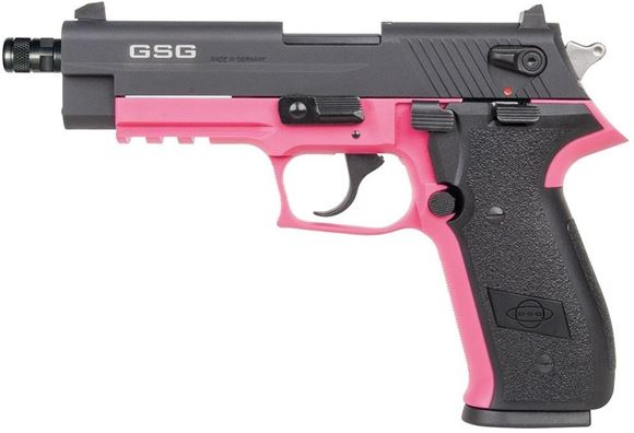 "Picture of German Sport Guns (GSG) FireFly Rimfire DA/SA Semi-Auto Pistol - 22 LR, 4.7"", Pink, Aluminum Alloy Slide & Polymer Frame, Black Ploymer Grips, 10rds, Fixed 3-Dots Sights"