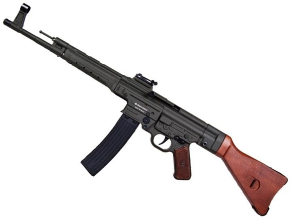 "Picture of German Sport Guns (GSG) GSG-STG 44 Rimfire Semi-Auto Rifle - 22 LR, 17.2"", Blued, Solid Wood Stock & Grip Panels, 25rds, Fixd Front Post & Adjustable Rear Sights"