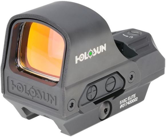 Picture of Holosun Reflex Sights - HE510C-GR Elite Reflex Optic, Black, 2 MOA Green Dot; 65 MOA Green Circle, 10 DL & 2 NV Compatible, MAO Housing Finish, Waterproof IP67, Quick Release Mount, CR2032, Up to 50,000 hrs