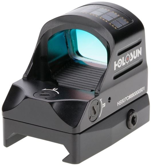 Picture of Holosun Reflex Sights - HS507C Micro Reflex Sight, Black, 2 MOA Red Dot; 32 MOA Circle, 10 DL & 2 NV Compatible, 7075 Aluminum Housing, Waterproof 1m, Solar Cell, CR2032, Up to 100,000 hrs