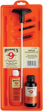 Picture of Hoppe's No. 9 Cleaning Kits, Rifle & Shotgun Cleaning Kit - All Calibers, With 3-Piece Steel Rod, 2 oz. Bottle Cleaning Solvent & 2.25 oz. Lubricating Oil, Clamshell, No Brushes