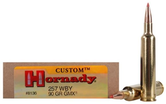 Picture of Hornady Custom Rifle Ammo - 257 WBY, 90Gr, GMX Boat Tail, 20rds/Box Weatherby