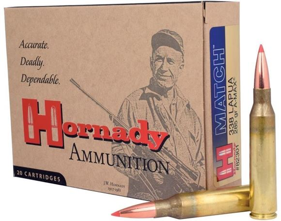 Picture of Hornady Rifle Ammo - 338 Lapua Magnum, 285Gr, A-MAX Match, 20rds Box