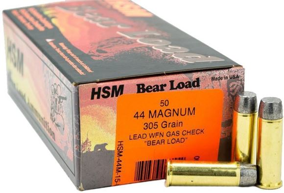 "Picture of HSM Bear Load Rifle Ammo - 44 Rem Mag, 305Gr, WFN Gas Check ""Bear Load"", 20rds Box"