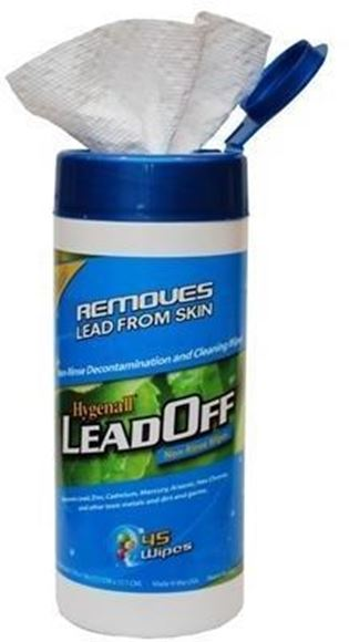 Picture of Hygenall Lead Off Wipes - Non-Rinse Decontamination and Cleaning Wipes, 45 Wipes, Removes Lead Zinc, Cadmium, Mercury, Arsenic, Hex Chrom & other Toxic Metals, Dirts & Germs
