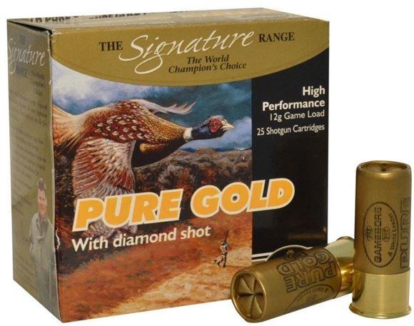 "Picture of Kent Cartridge Gamebore Pure Gold Diamond Shot Shotgun Ammunition - 12ga, 2-1/2"", 1 oz, #6 Diamond Shot, Fibre Wad, 25rds box"