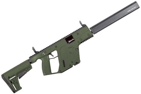 """Picture of KRISS Vector Gen II CRB Semi-Auto Carbine - 9mm, 18.6"""", w/Square Enhanced Black Shroud, OD Green, M4 Stock Adaptor w/Defiance M4 Stock, 10rds, Flip Up Front & Rear Sights"""
