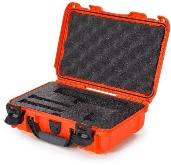 "Picture of Nanuk Professional Protective Cases - Classic Single Pistol Case, Pre-cut Foam, Waterproof & Impact Resistant, 12.64"" x 9"" x 4.38"", Orange"