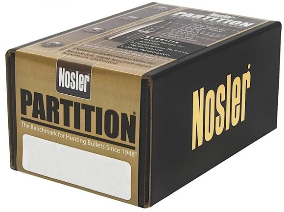 "Picture of Nosler Bullets, Partition - 338 Caliber (.338""), 225Gr, Spitzer, 50ct Box"