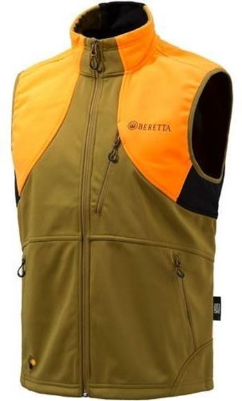 Picture of Beretta Men's Clothing, Vests - Beretta Soft Shell Fleece Vest, Adult, Light Brown/Orange, XXL
