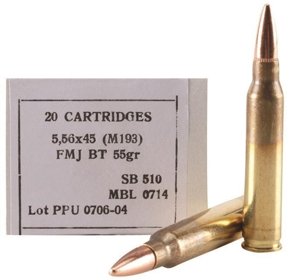 Picture of Prvi Partizan (PPU) Rifle Ammo - 5.56x45mm(m193), 55gr, 20rds box
