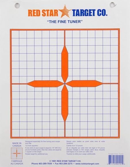 "Picture of Red Star Colour Targets - Fine Tuner Target (Extra-Thick Shooting Paper), 8.5""x11"" on a 1/2"" Grid, 10-Pack"