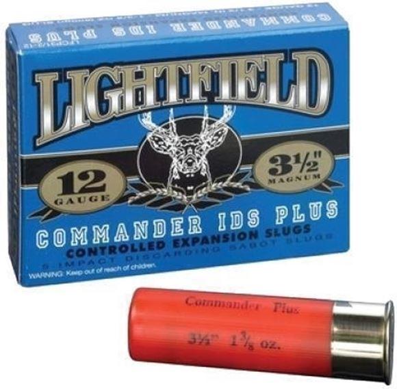 "Picture of Lightfield Hunting Loads Shotgun Ammo - Commander IDS Plus Maximum Expansion Slug, 12Ga, 3-1/2"", 1.37oz/600gr, Slug, 5rds Box, 1890fps"