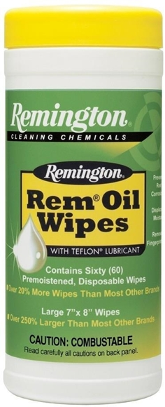 """Picture of Remington Gun Care, Oils & Lubricants - Rem Oil Wipes (Pop-Up), 7"""" x 8"""", 60cts, Bi-Lingual/Health Canada Approved"""