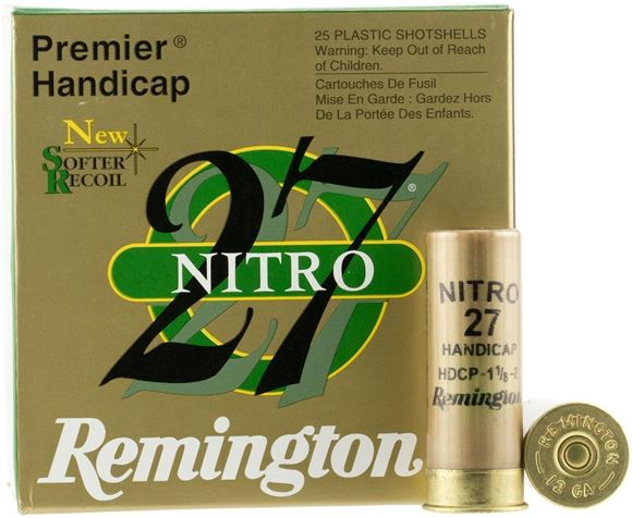"Picture of Remington Target Loads Premier Nitro 27 Handicap Target Loads Shotgun Ammo - 12Ga, 2-3/4"", HDCP DE, 1-1/8oz, #8, Extra Hard STS Target Shot, 250rds Case, 1235fps"