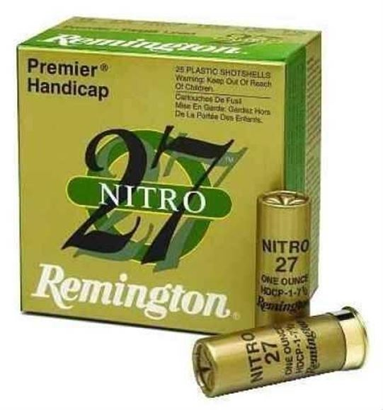 "Picture of Remington Target Loads, Premier Nitro 27 Handicap Target Loads Shotgun Ammo - 12Ga, 2-3/4"", HDCP DE, 1-1/8oz, #8, Extra Hard STS Target Shot, 25rds Box, 1235fps"