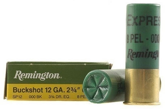 "Picture of Remington Buckshot, Express Buckshot Loads Shotgun Ammo - 12Ga, 2-3/4"", 3-3/4 DE, #000 Buck, 8 Pellets, Buffered, 250rds Case, 1325fps"