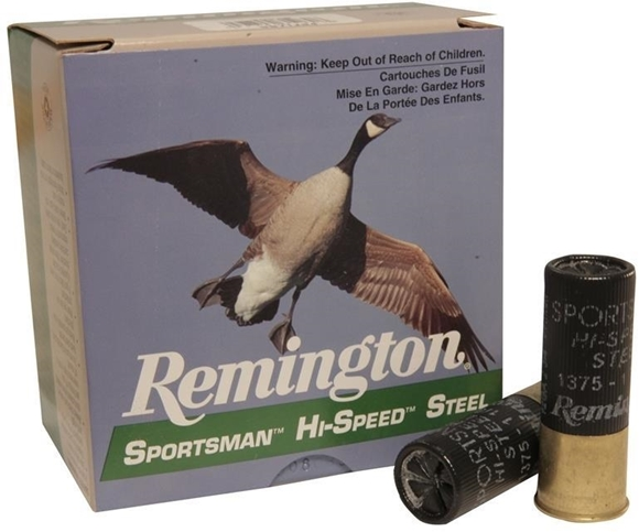 "Picture of Remington Waterfowl Loads, Sportsman Hi-Speed Steel Shotgun Ammo - 12Ga, 2-3/4"", MAG DE, 1-1/8oz, #4, 250rds Case, 1375fps"
