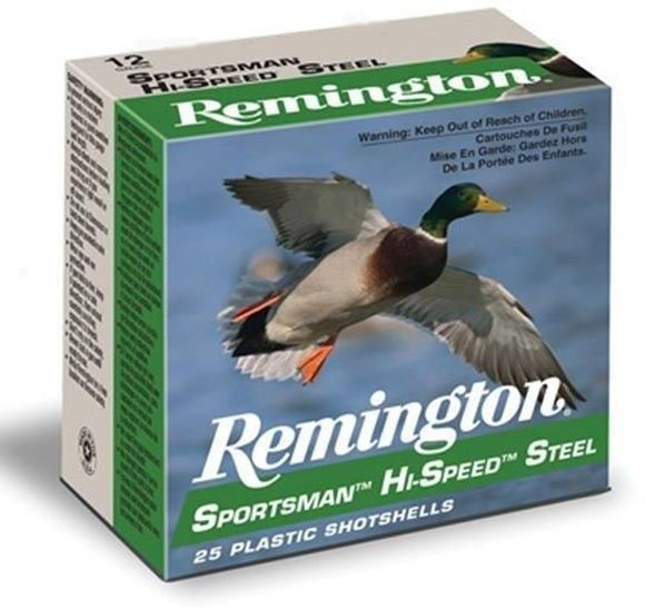 "Picture of Remington Waterfowl Loads, Sportsman Hi-Speed Steel Loads Shotgun Ammo - 12Ga, 3"", MAG DE, 1-1/8oz, #2, 250rds Case, 1550fps"