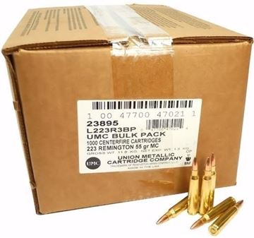 Picture of Remington UMC Rifle Ammo - 223 Rem, 55Gr, MC, 1000rds Bulk Pack